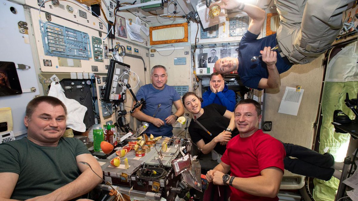 The current crew onboard the ISS gather for dinner in the galley of the Zvezda service module. Next week, three new crew members are scheduled to arrive in space to join their colleagues. Stay tuned for details on how to watch live coverage of their journey! Image credit: NASA