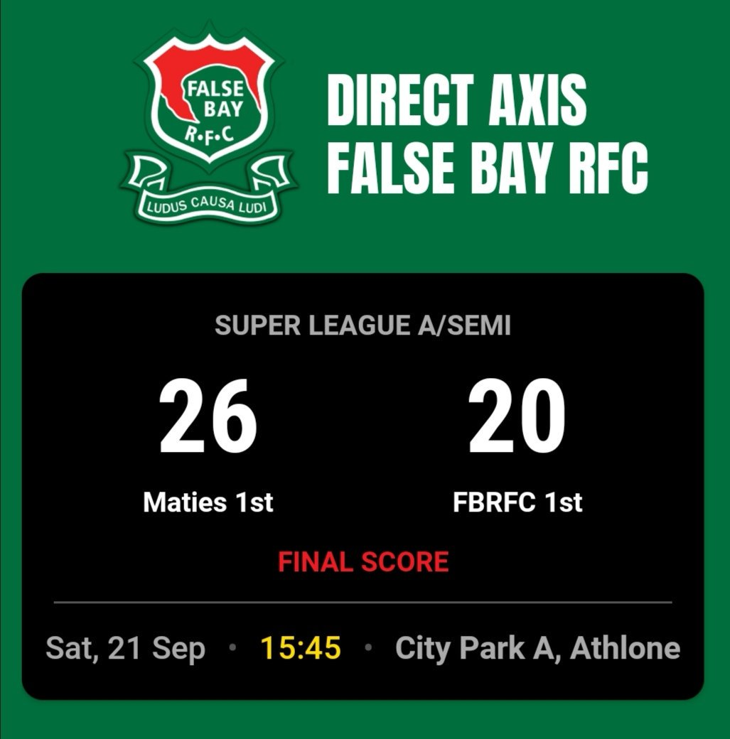 FULL TIME | WP SLA SEMI-FINAL @DirectAxis False Bay 🆚 @maties_rugby #WpClubRugby #LoveRugby 🏉