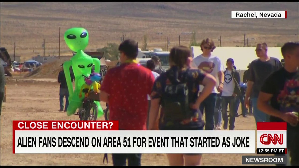 """A few thousand people showed up in the Nevada desert this weekend to follow through on their Facebook pledge tostorm Area 51 and """"see them aliens""""– but itwasn't nearly as excitingas some had hoped. https://cnn.it/2kraTPC"""