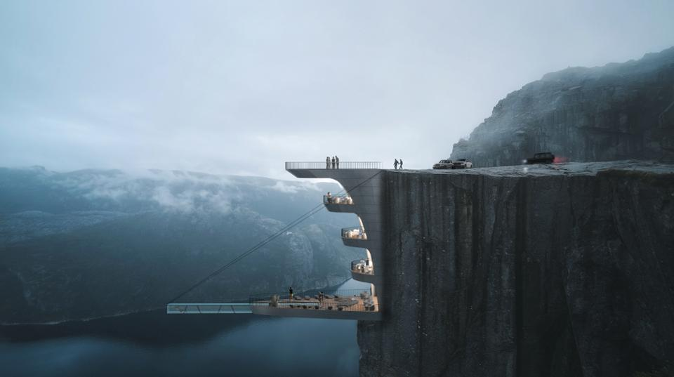 This hotel concept features a glass-bottomed pool over a 1982-foot cliff: http://on.forbes.com/601416gXC