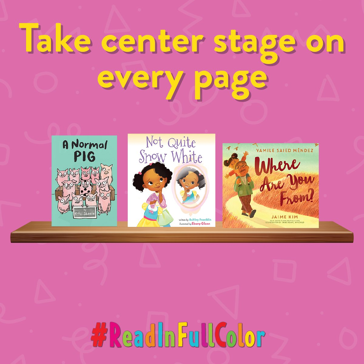 Participate in #ReadInFullColor, a movement to highlight amazing picture books with #ownvoices creators and inclusive stories like these! Use the hashtag or tag us to recommend books that shared your story. @kfaisteele @DifferentAshley @artsyebby @YamileSMendez @jaimekimil