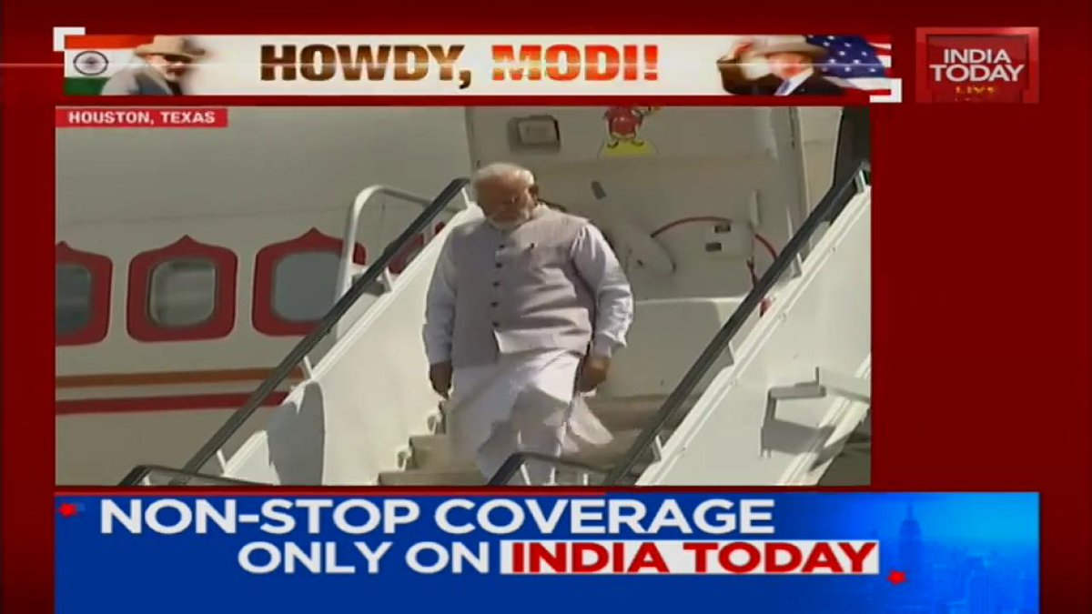 PM @narendramodi lands in #Houston. India Today's @Geeta_Mohan  tells you more about it.#ITVideo #NaMosteAmericaMore videos: http://bit.ly/it_videos