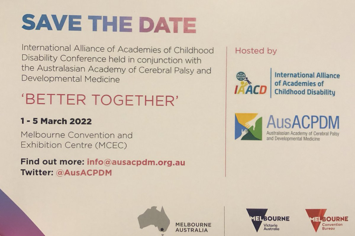 Save the date! The next combined #IAACD meeting will be in Melbourne, Australia in 2022, hosted by @AusACPDM. #BetterTogether