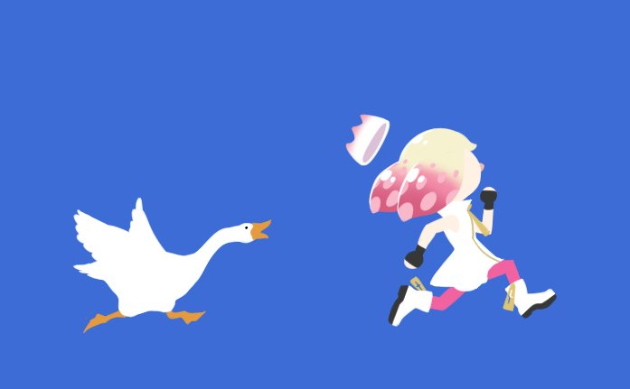 """I bought the Untitled Goose Game the other day, it's pretty fun!  I also noticed that the Japanese version gave it a subtitle that translates to """"Here comes the mischievous goose!"""". Now, why would you go and give an untitled game a name? Bad localisation!  #Splatoon2 <br>http://pic.twitter.com/OtyLRRj5u6"""