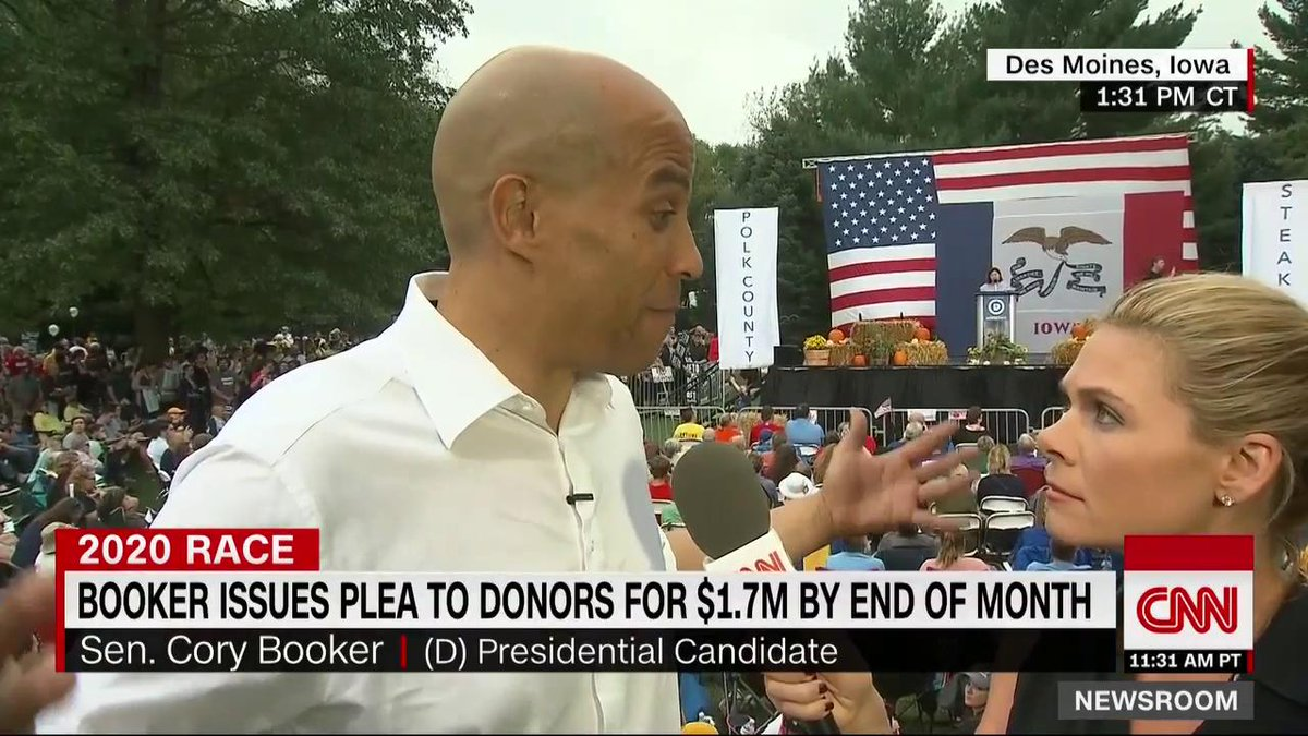 """Sen. Cory Booker's campaign is making an appeal to raise $1.7 million in 10 days to stay in the 2020 race. """"I won't continue this unless I can look people in the eye and say we have a chance to win it,"""" he says. https://cnn.it/2kYnUAp"""