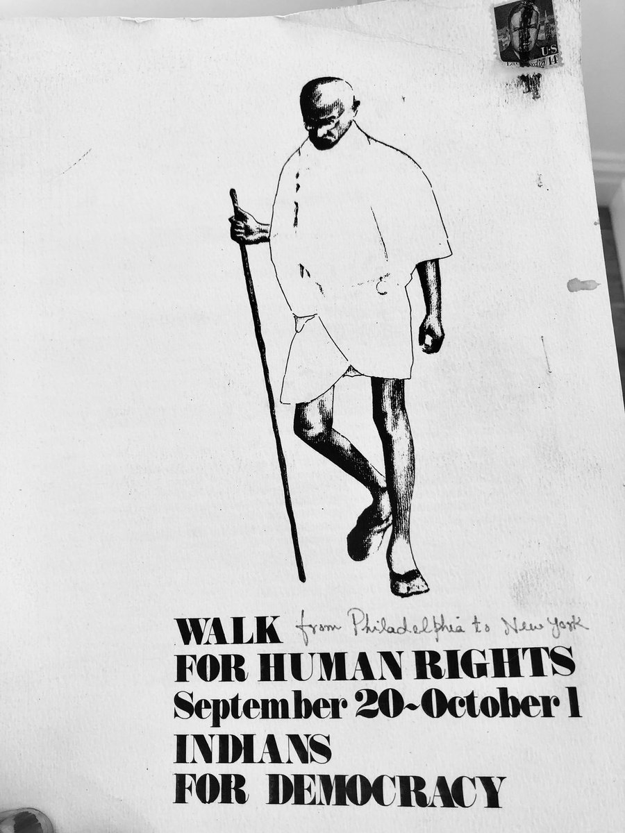 University of Chicago faculty and students did a satyagraha walk in 1976, from Philadelphia to New York, to protest against denial of Rights to students and the Emergency of Indira Gandhi. <br>http://pic.twitter.com/pkuohaleEr