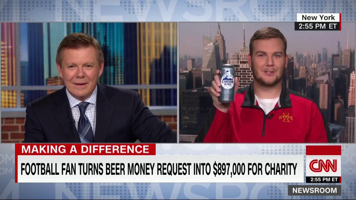 A college football fan who held up a sign on TV asking for beer money says he's giving thousands of dollars he raked in to a children's hospital—and the cash is being tripled thanks to two companies announcing matching contributions, totaling nearly $900K. https://cnn.it/2ksKcKn