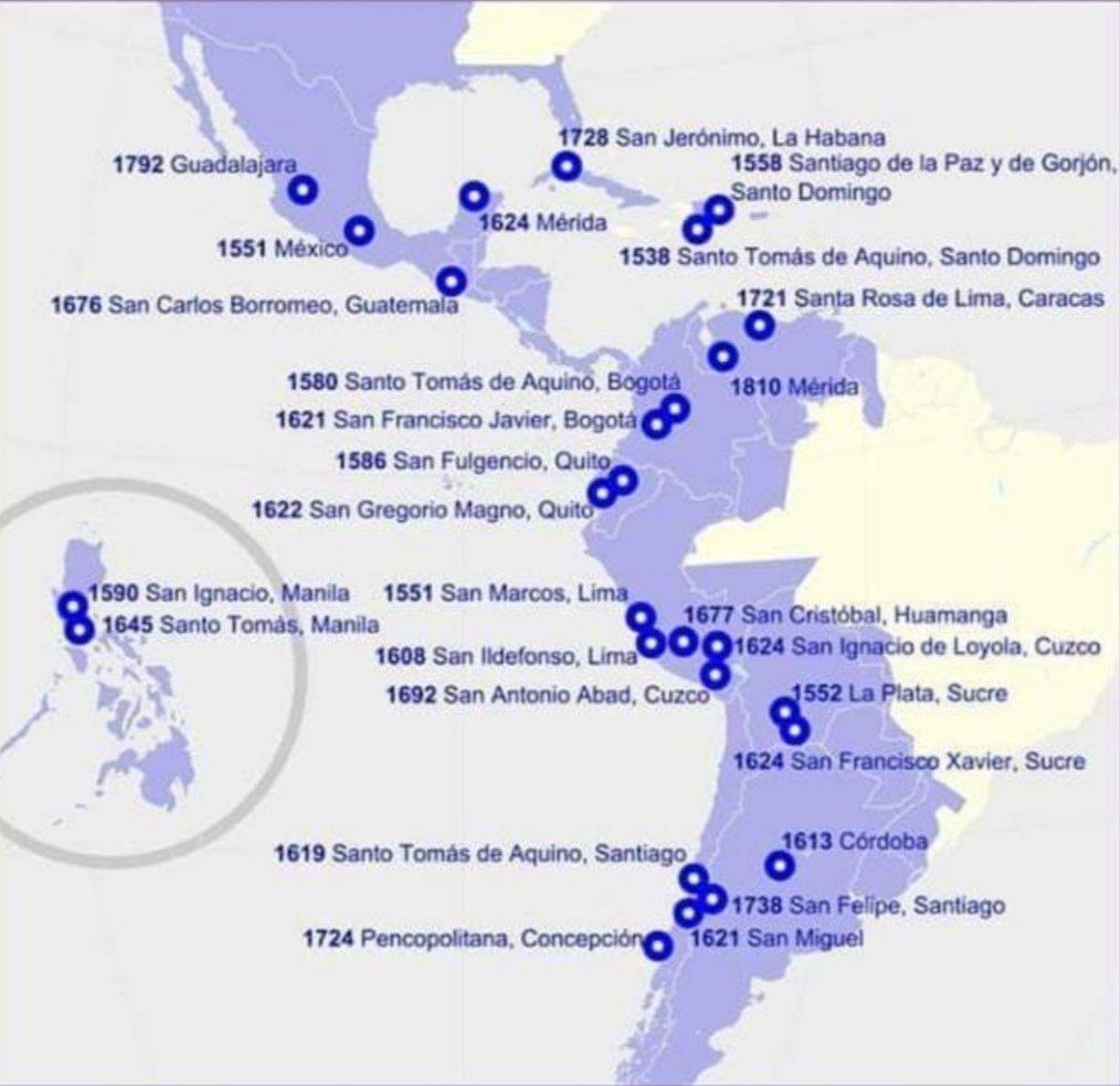 """❌Twitteando Historia de España a Twitter: """"#Universidades fundadas por  España en #América y #Filipinas. ¿Saben vuecencias cuántas universidades  fundaron ingleses, franceses, portugueses, holandeses... en sus colonias?  Cero.… https://t.co/TogBp3chvl"""""""