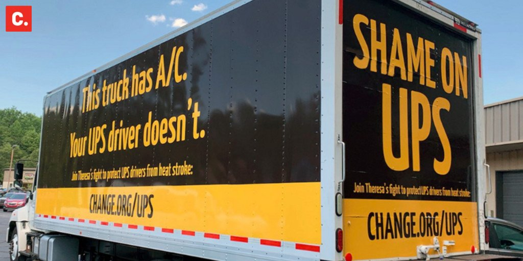 Every time a UPS driver passes this truck, they'll know we're fighting for them. Every time a UPS exec passes this truck, they'll feel the heat. Theresa sent this truck to Atlanta, @UPS headquarters, to demand they add A/C to their trucks: bit.ly/2V9HRCg