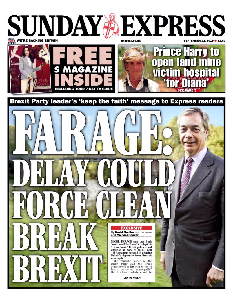 SUNDAY EXPRESS: Farage: Delay could force clean break Brexit #tomorrowspaperstoday