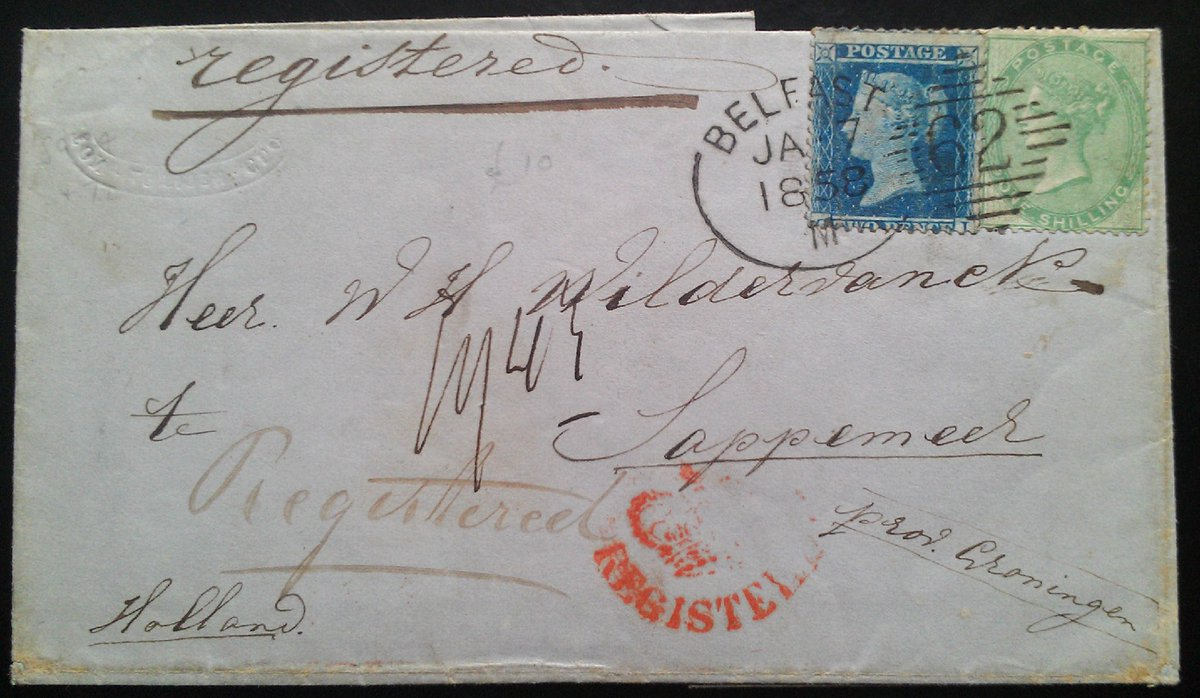 From my Collection Irish Spoon Postmarks On the 1s Green No Corner Letters + 2d Blue  Belfast Irish type b Code M 7th Jan 1858 Belfast, Registered cover to Sappemeer Netherlands Rare & Exhibition cover Ex Emerald - David Feldman  #PHILATELY #POSTALHISTORY<br>http://pic.twitter.com/4swFRz3cb9