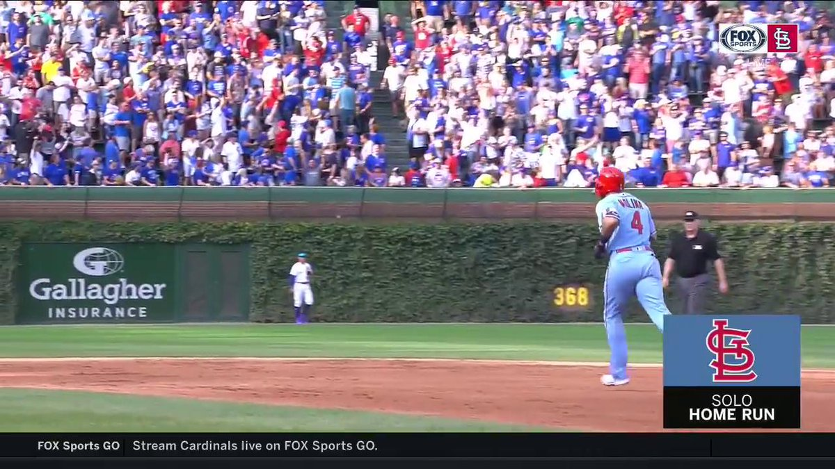 ICYMI - One the very first pitch of the ninth inning, Yadi sends Kimbrels pitch into the Wrigley bleachers to tie up the ballgame. #TimeToFly