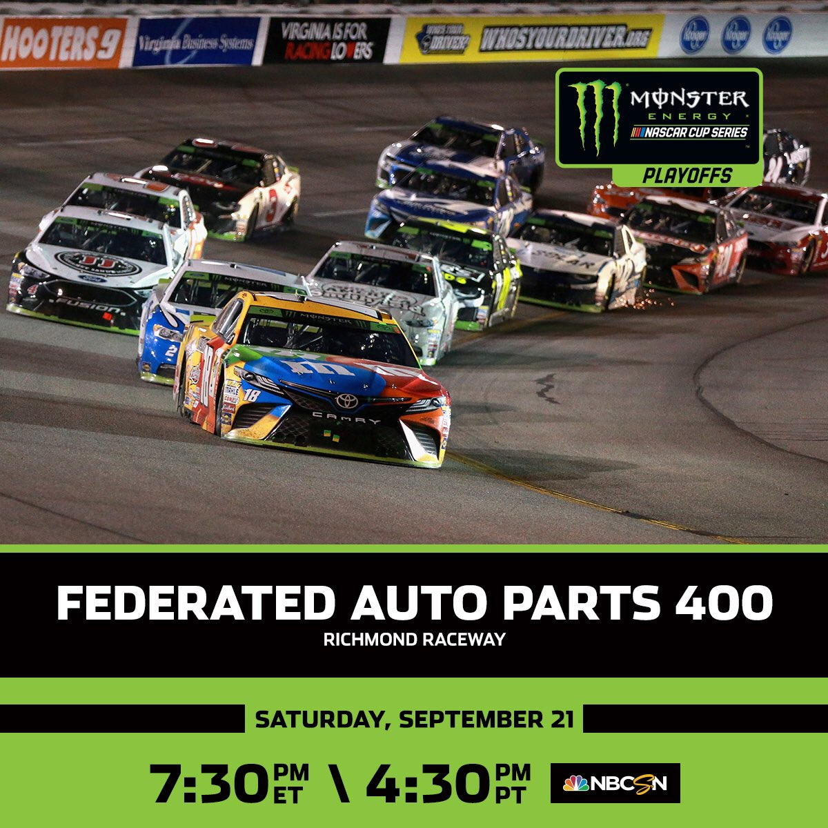 The #NASCARPlayoffs continue tonight under the lights at @RichmondRaceway.
