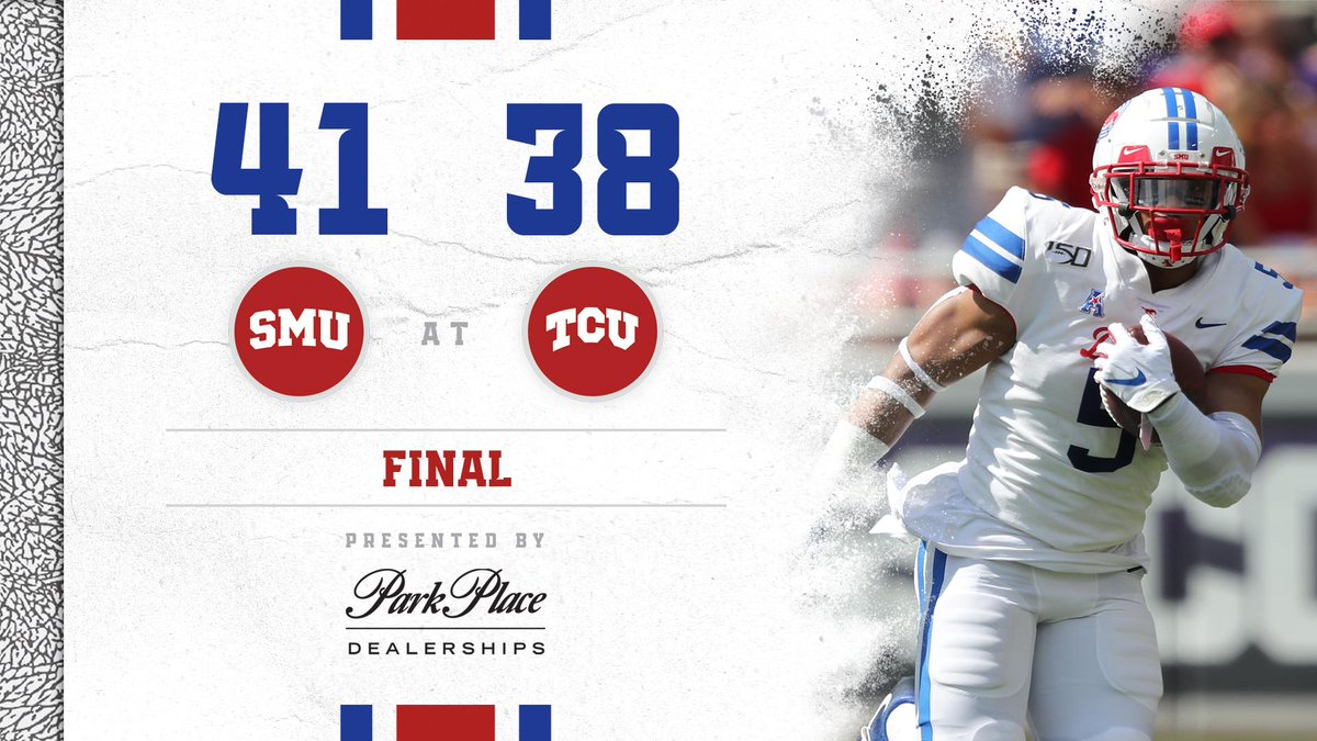 THE IRON SKILLET IS OURS!   SMU beats TCU 41-38 and is 4-0!   #PonyUp | #TCUBeat  Final score presented by @ParkPlaceTexas.<br>http://pic.twitter.com/WXMNLRPAFn