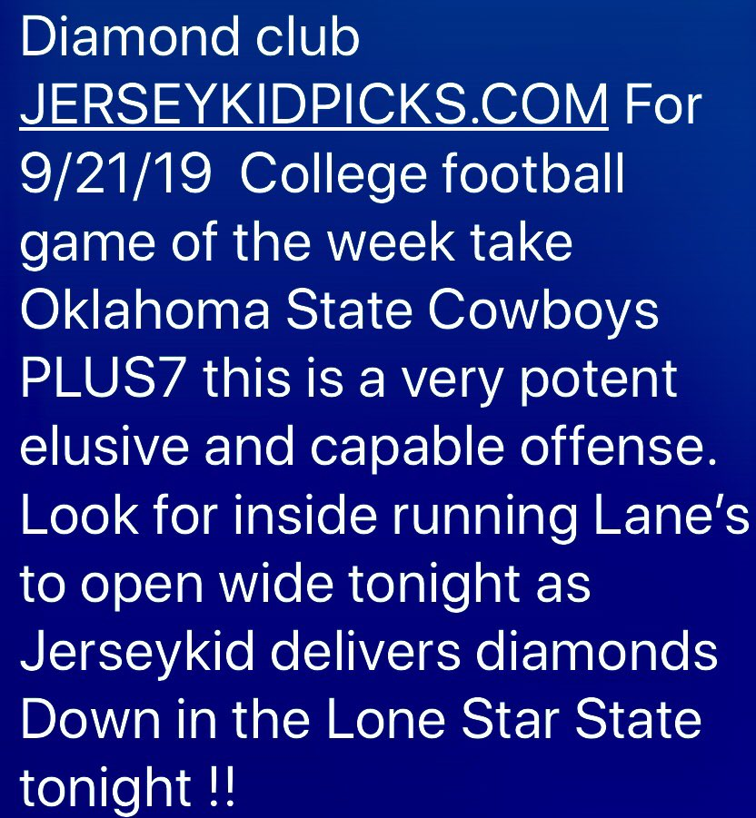 #Jerseykid Releases another #CollegeFootball #GameOfTheWeek Starting the year fast 3-1 is great but I think I can deliver this #OklahomaStateCowboys game JERSEYKIDPICKS.COM #FollowTheMoney #GamblingTwitter #SportsBook #SportsPicks #JerseyShore #FanDuel #NewJersey