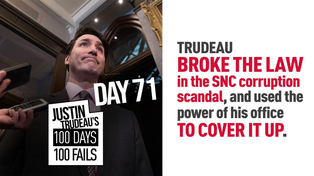 Trudeau was found guilty of breaking ethics laws for pressuring the Attorney General into stopping the criminal prosecution of SNC-Lavalin on corruption charges.  #100Days100Fails #cdnpoli    http:// 100days100trudeaufails.ca /    <br>http://pic.twitter.com/NLxF3Gra7W