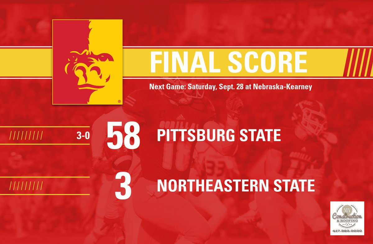 Final score over Northeastern State as we move to 3-0 on the season. #GorillaNation<br>http://pic.twitter.com/BFh5J2TnLo