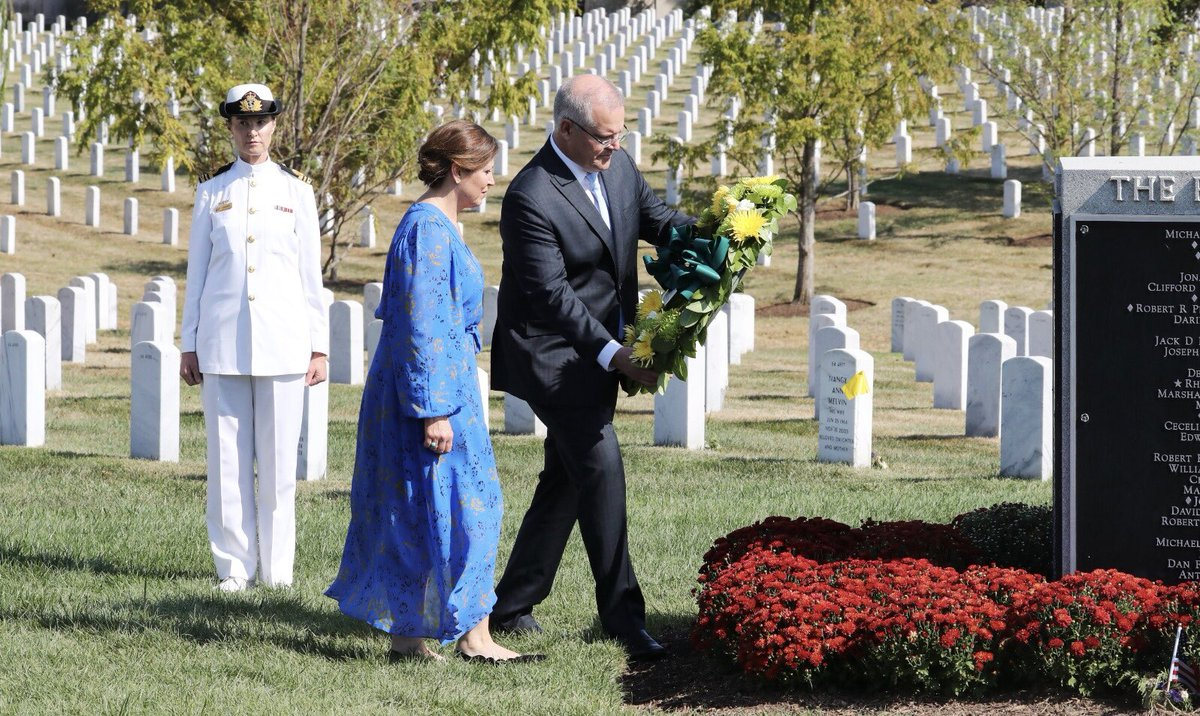 Incredibly moving for Jenny and me to visit Arlington Cemetery today and lay a wreath in honour of the fallen Australian soldiers who have been laid to rest there.