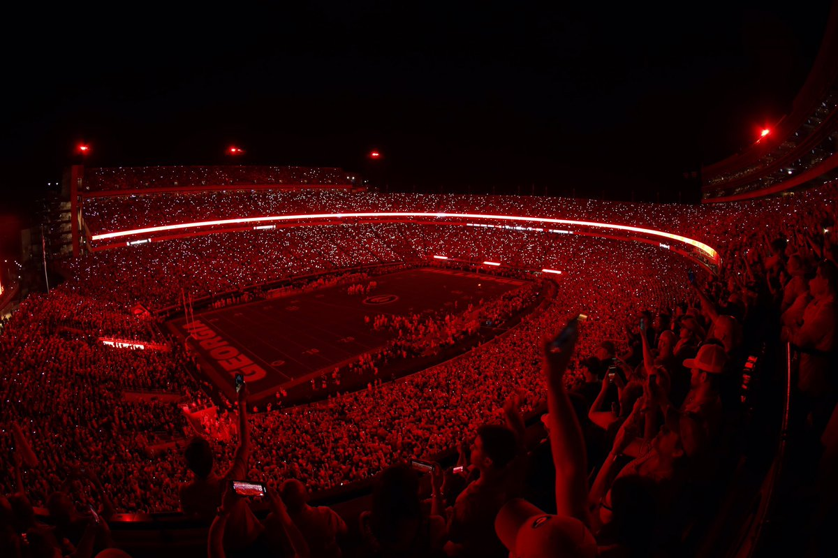 Light up Sanford Stadium at the start of the 4th-quarter of the Notre Dame game on Saturday night, September 21, 2019 (Photo courtesy of UGA Athletics, Twitter)