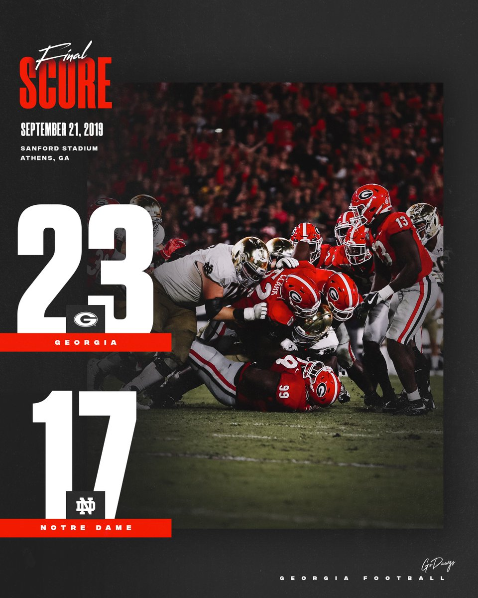 RT @GeorgiaFootball: FINAL ‼️ #DawgsOnTop  #NDvsUGA #GoDawgs https://t.co/uKIeWnzd3q