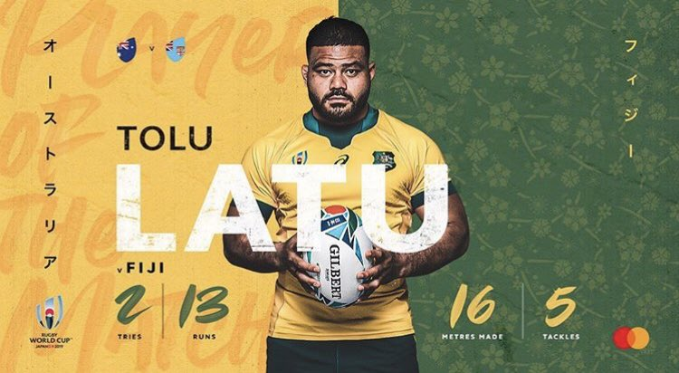 Player of the match for Tolu Latu! Congrats! #GoldBlooded #AUSvFIJ #RWC2019 #TeamRugby