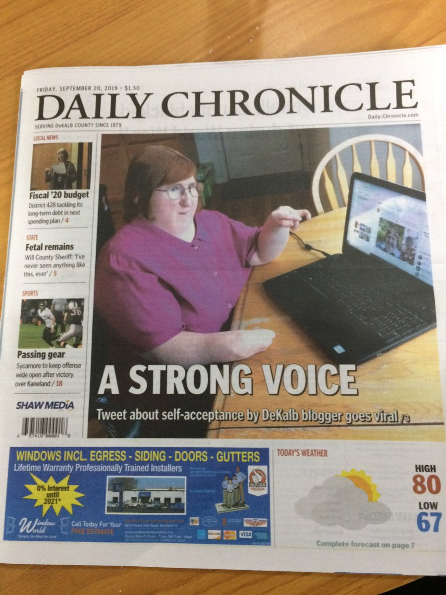 I'll be writing a super duper huge blog post about all the press from my viral tweet, but I had to share this one! Nothing beats making the FRONT PAGE of your hometown newspaper — the same newspaper where I spent five years as a weekly columnist. Thank you, @Daily_Chronicle! ❤️🗞