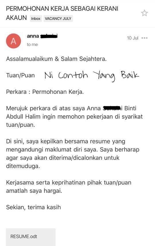Work Co Resumemurah Di Twitter Contoh Email Dalam Bahasa Melayu