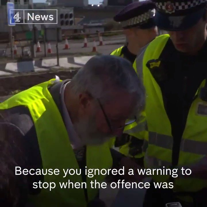Its my generation thats caused all this trouble, so here I am. This 91-year-old protester was arrested halfway through an interview with @AyshahTull, after he joined in on the Extinction Rebellion blockade in Dover.