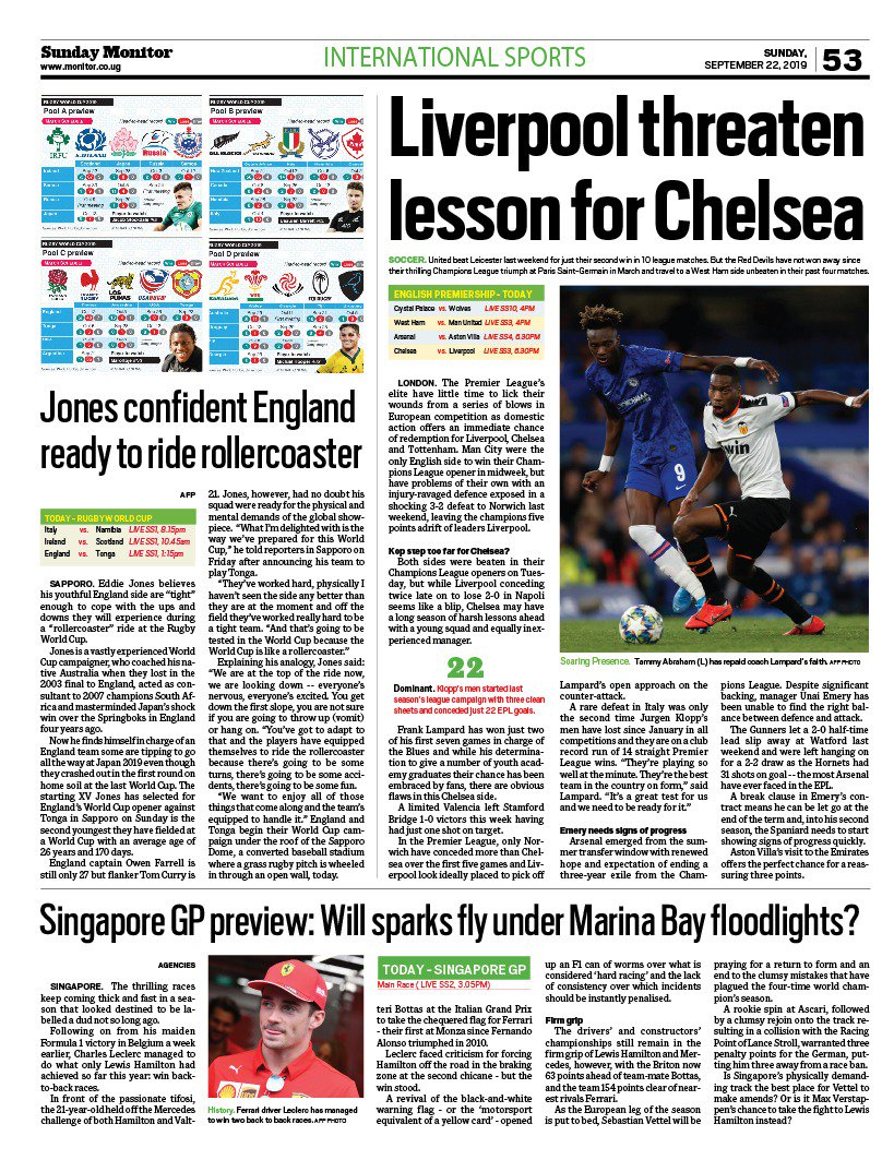 Daily Monitor Sports On Twitter International Sport Chelsea Vs Liverpool Rugby World Cup Singapore Grand Prix