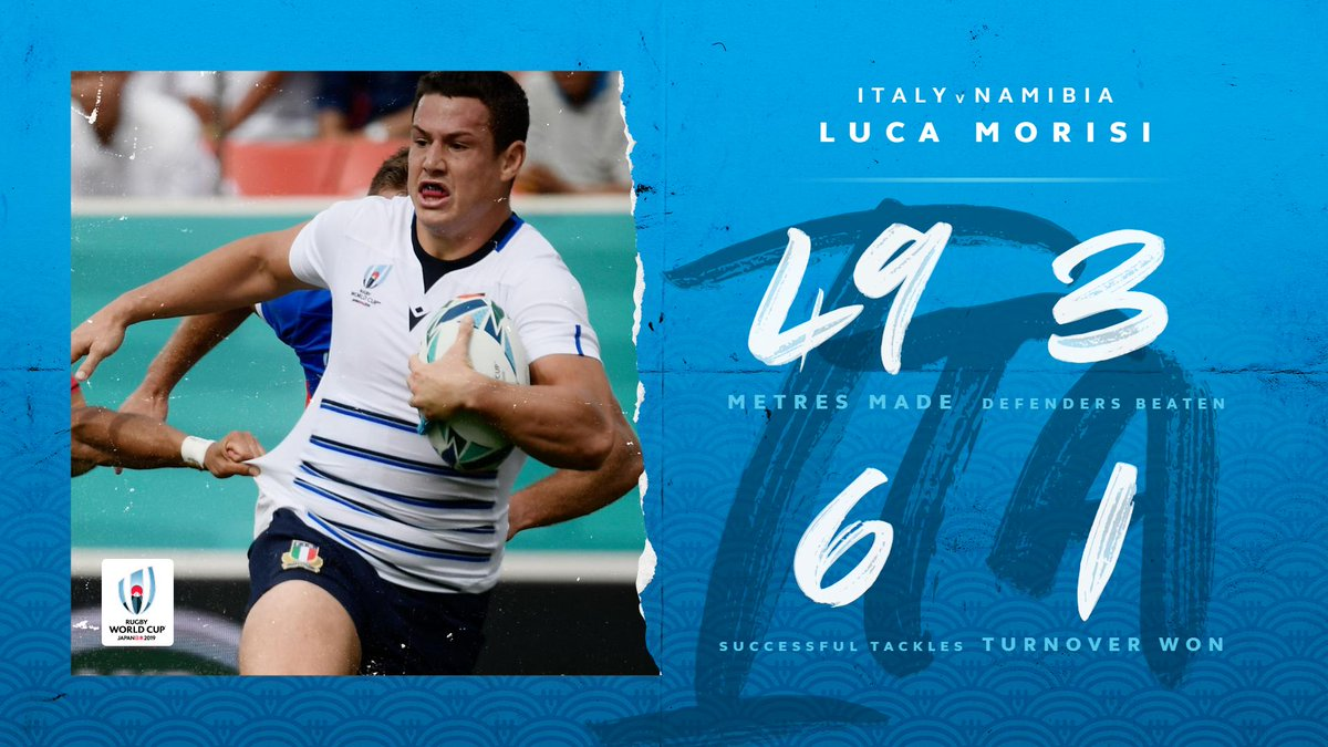 @Federugby @RugbyNamibia What a first half performance from @Federugby Luca Morisi #ITAvNAM #RWC2019