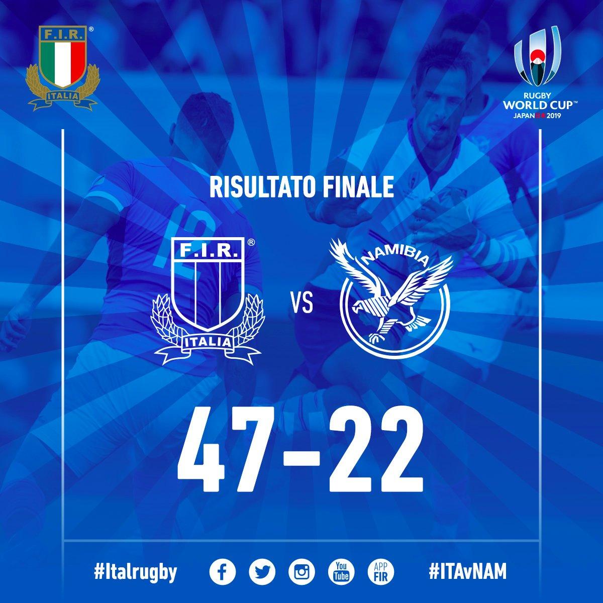 🔵 #ITAvNAM: termina 47-22 a Osaka il primo match di #Italrugby nella #RWC2019 Ora, testa alla prossima sfida, in programma giovedì con il Canada 🏉 #insieme #rugbypassioneitaliana
