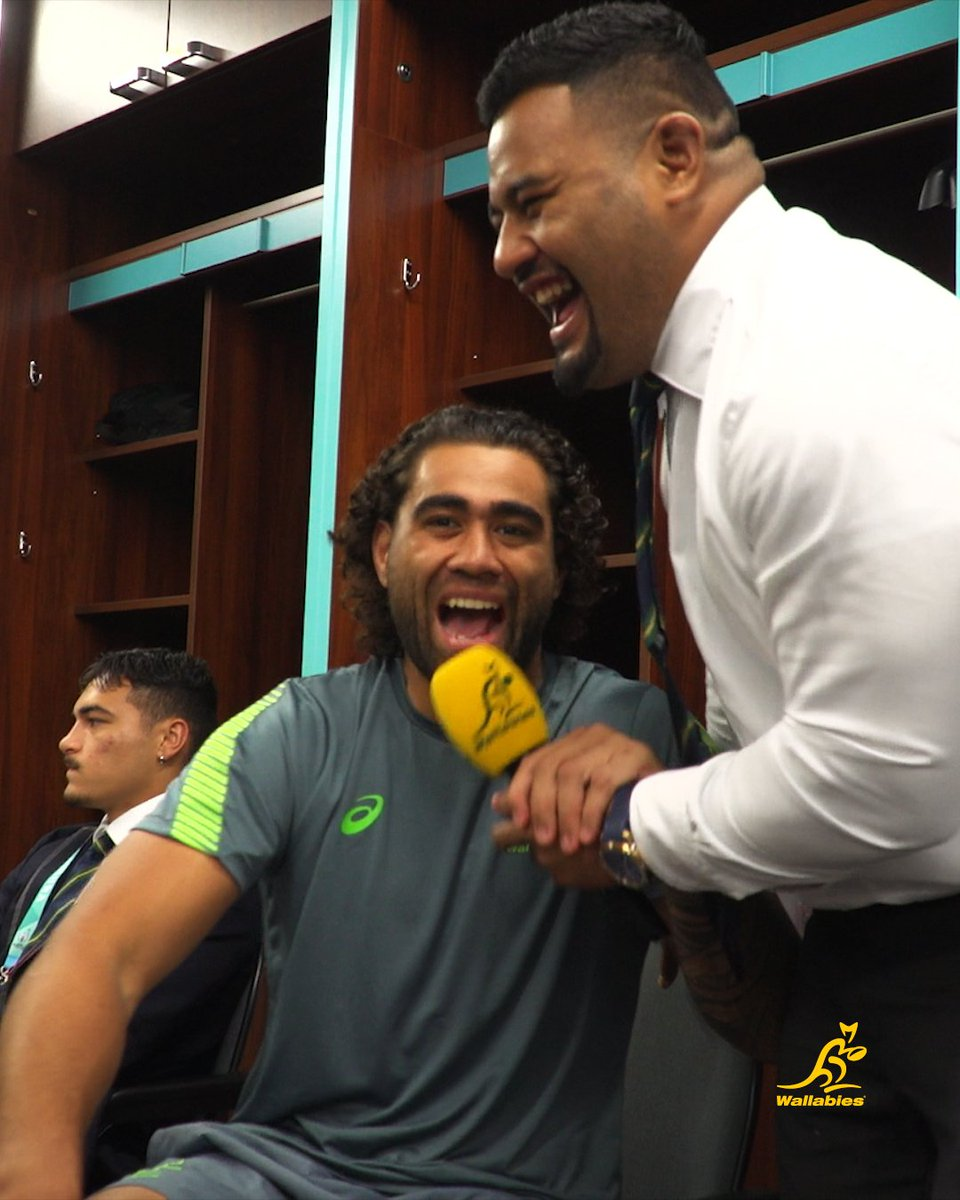 Hes back! Come into the sheds with the Roving Rhino after our win over Fiji last night 🦏 🎤 #AUSvFIJ #RWC2019 #GoldBlooded