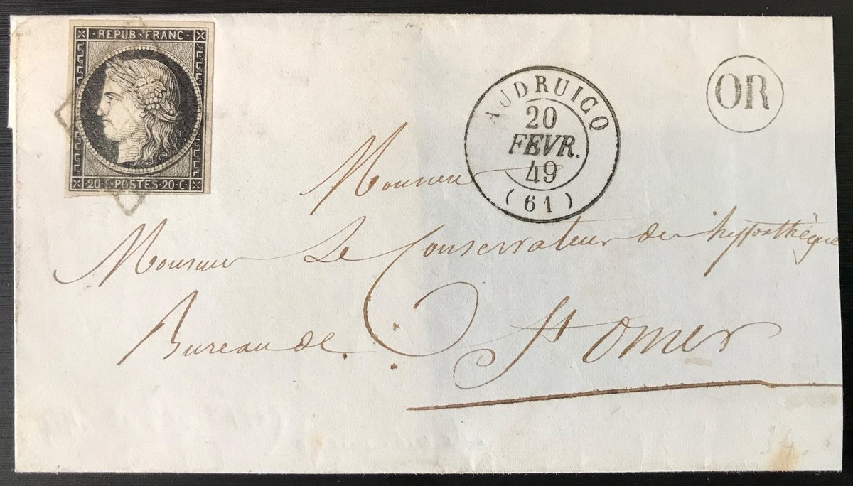First French #stamp, 20c black Cérès, was used for the first time the 1st January 1849, here a cover send 20th February 1849 from #Audruicq #PasdeCalais #hautsdefrance #philately <br>http://pic.twitter.com/6HKoAdAvue