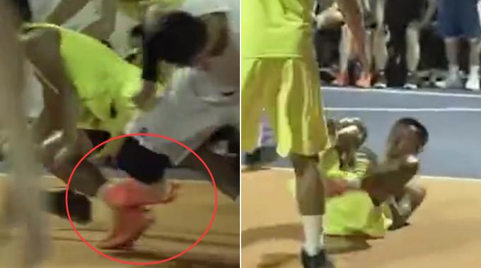 【影片】野球場髒動作!一腳把對手鏟倒在地,這種人不配打籃球!