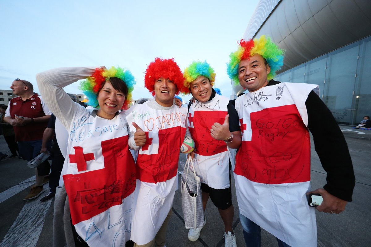 test Twitter Media - The atmosphere is building in #RWCSapporo   And the outfits are on point 🤩  #RWC2019 #ENGvTGA https://t.co/dMs5HfrbWp