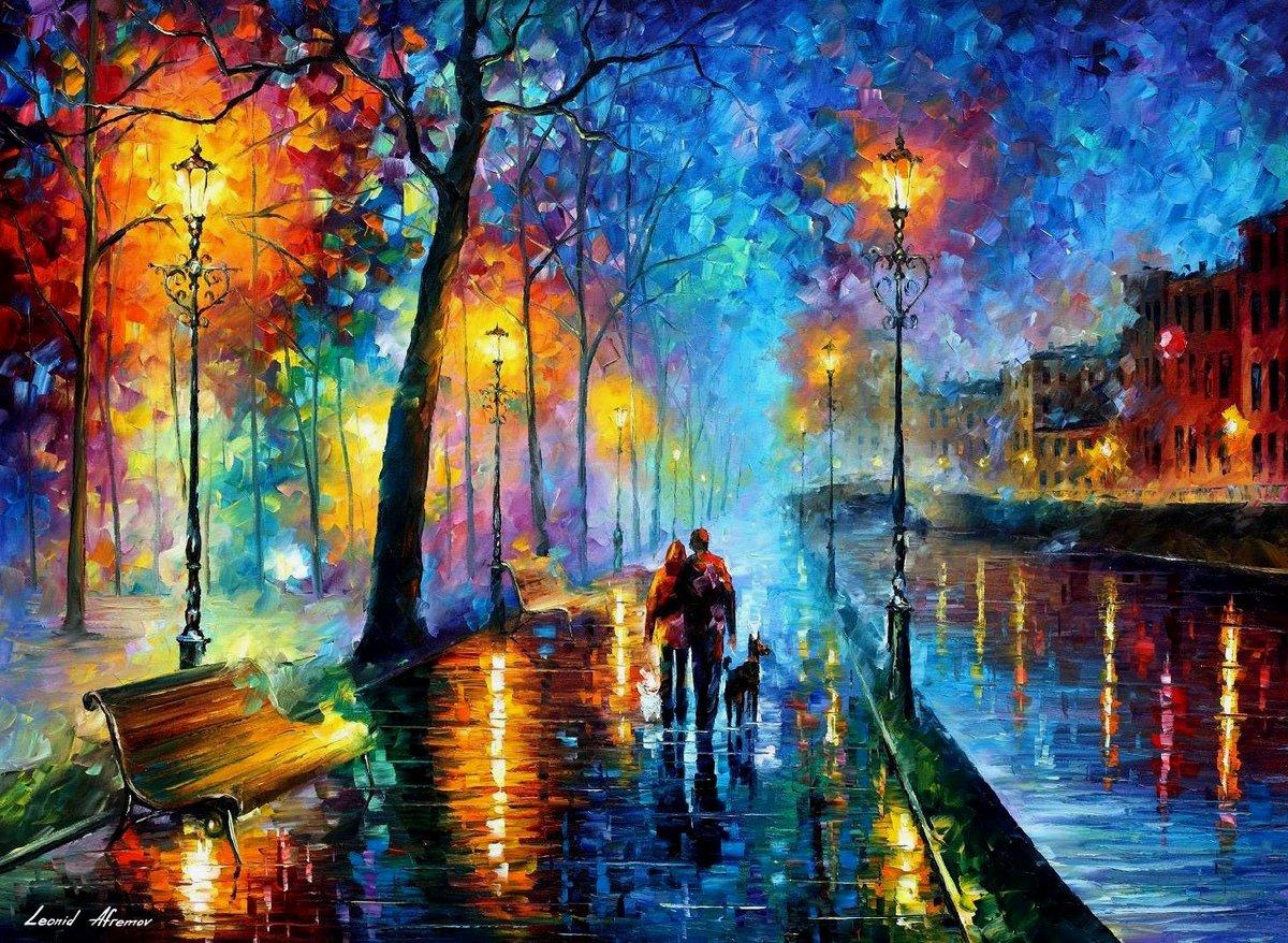 Открытка вечерняя прогулка, открытка другу
