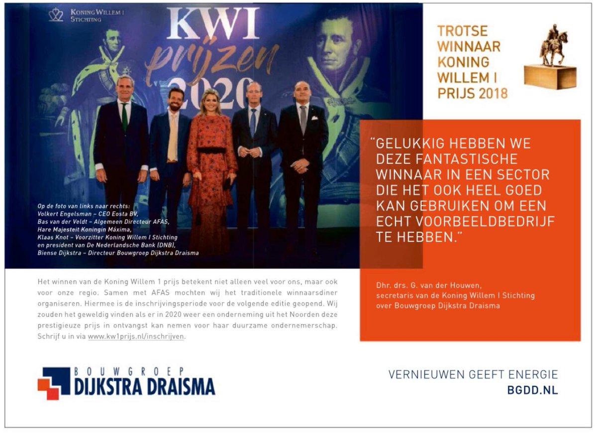 De inschrijving voor de Koning Willem I prijs 2020 is gestart. Welk Noordelijk bedrijf wordt de opvolger van winnaar Bouwgroep Dijkstra Draisma. Aarzel niet en schrijf je in! https://t.co/eE0nf3YR8D