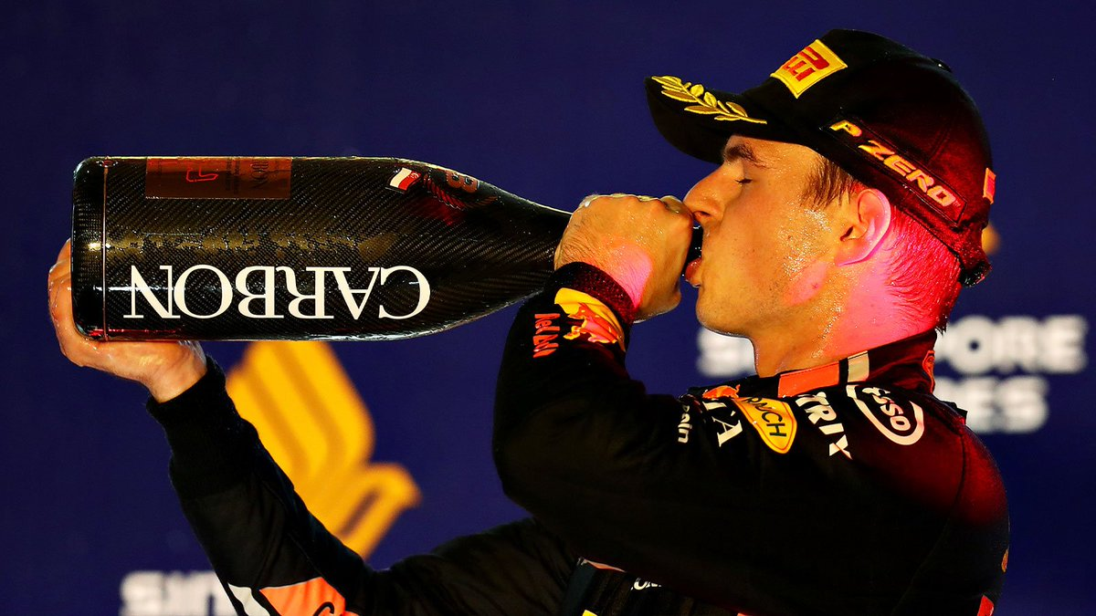 Extreme concentration for two hours under intense pressure, humidity and heat! 😅 You've earned that champagne @Max33Verstappen 👏🍾 #F1NightRace