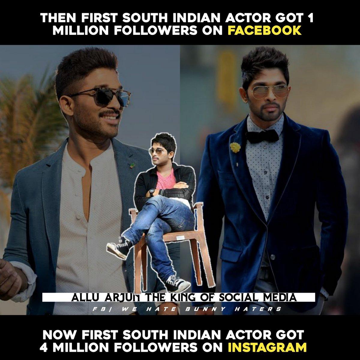 Firsth South Indian Actor got 1m likes on Facebook First South Indian Actor got 4m likes on Instagram  #AlluArjun The King of Social media  #4MillionAADHFsOnInstagram<br>http://pic.twitter.com/v7eaEdntfL