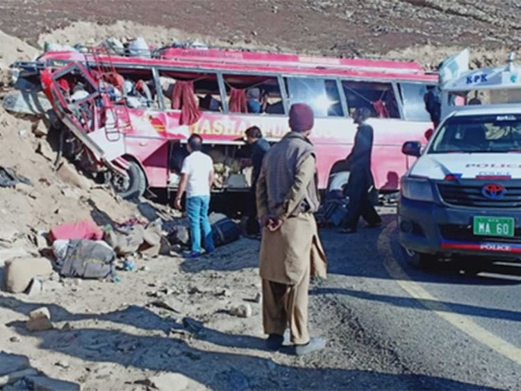 At least 26 lost life, including 10 soldiers, and a dozen others injured in a passenger bus accident on Babusar Pass in the Diamer district of Gilgit-Baltistan #Pakistan