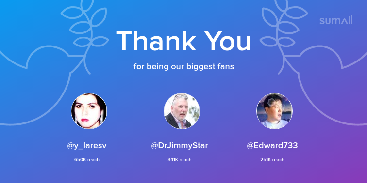 Our biggest fans this week: y_laresv, DrJimmyStar, Edward733. Thank you! via sumall.com/thankyou?utm_s…