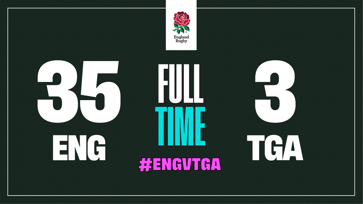 Its full time in Sapporo and England are off to a bonus-point winning start at #RWC2019 #ENGvTGA #CarryThemHome