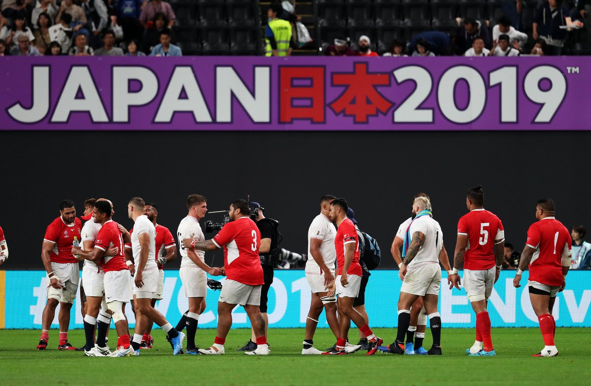 Thank you, @officialTongaRU. Well played and good luck with the rest of your #RWC2019 campaign. #ENGvTGA #CarryThemHome