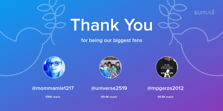 Our biggest fans this week: mommamia1217, universe2519, mpgarza2012. Thank you! via sumall.com/thankyou?utm_s…