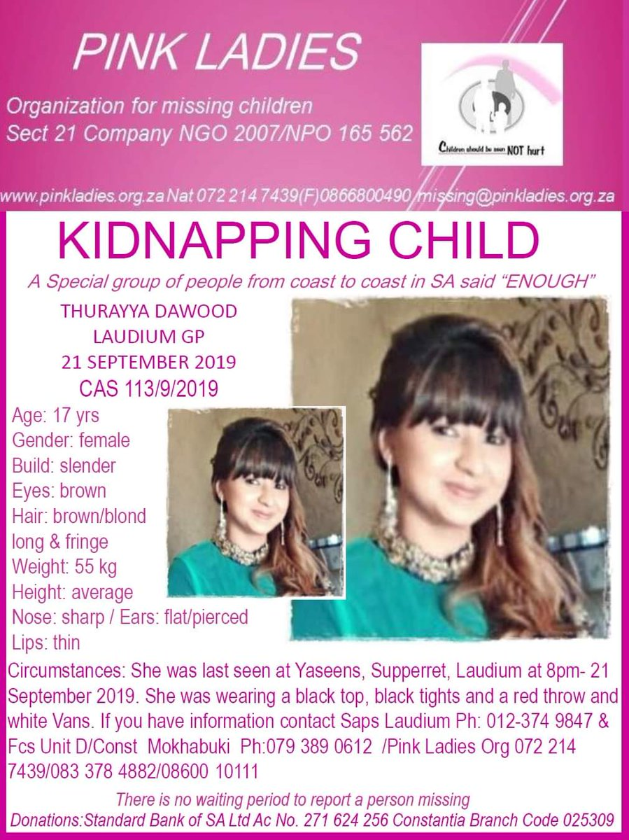 KIDNAPPED CHILD Thurayya Dawood 17 years old was last seen in Laudium, Pretoria. #WhereAreTheySA #MissingPerson #MissingChild #SouthAfrica<br>http://pic.twitter.com/vgSbToKgLt