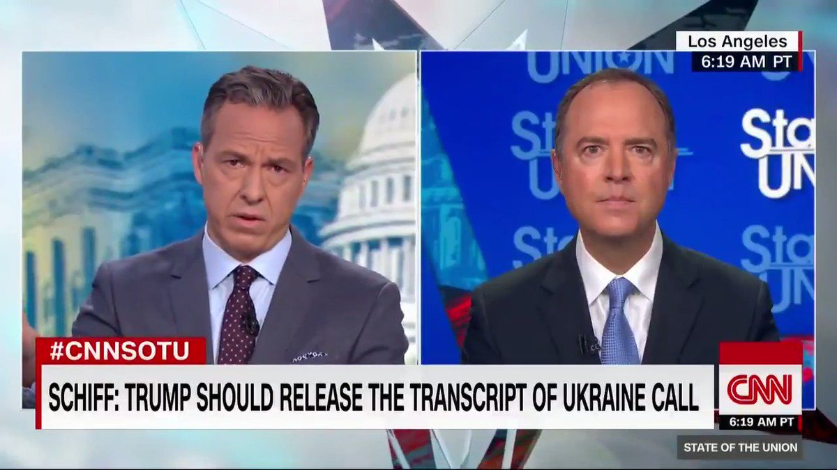 """Rep. Adam Schiff on President Trumps call with the Ukraine president: """"This would be, I think, the most profound violation of the presidential oath of office certainly during this presidency, which says a lot, but perhaps during just about any presidency"""" #CNNSOTU"""