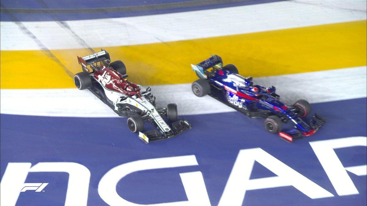 ⚠️ SAFETY CAR DEPLOYED (LAP 50/61) ⚠️  Kvyat and Raikkonen crash at Turn 1!  The Iceman retires 😕  #F1 #SingaporeGP