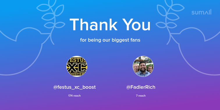 Our biggest fans this week: festus_xc_boost, FadlerRich. Thank you! via sumall.com/thankyou?utm_s…