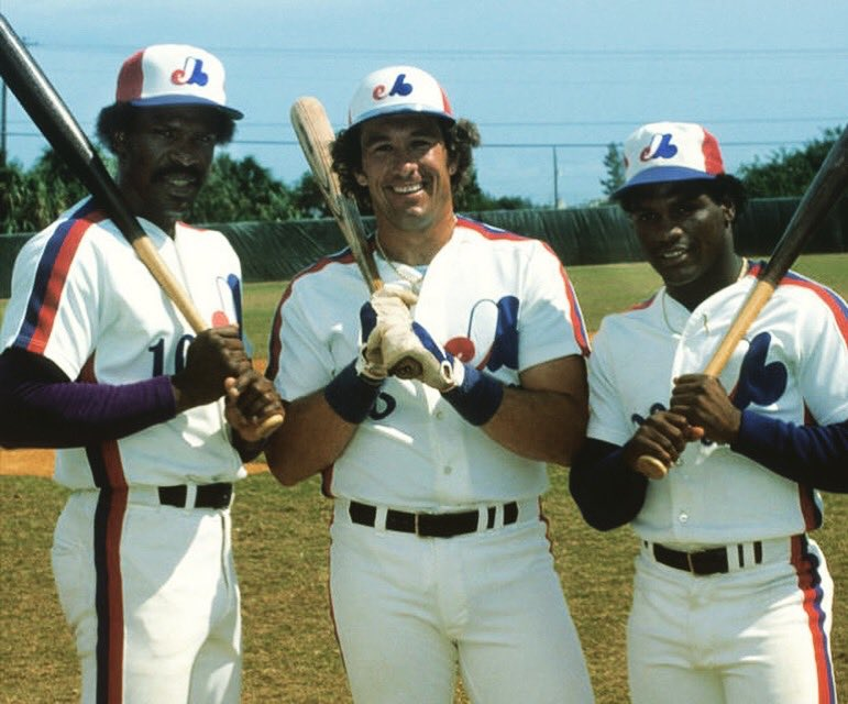 Montreal HOF Triple Threat: Andre Dawson Gary Carter & Tim Raines. Long live the Expos and their glorious racing stripes & multicolored caps @PhilHecken @sportslogosnet @UniWatch @BSmile @Super70sSports #HallOfFamers #Expos