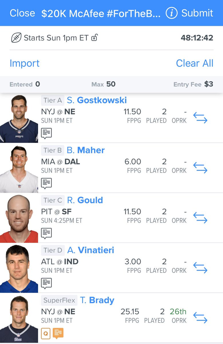 ONLY $3 to enter. 🗣 $20,000 in prizes + an autographed kendo stick to the outright winner @FanDuel's #ForTheBrand Fantasy Challenge Pick 4 kickers & a flex player. Here are @PatMcAfeeShow's picks ~> FanDuel.com/ForTheBrand